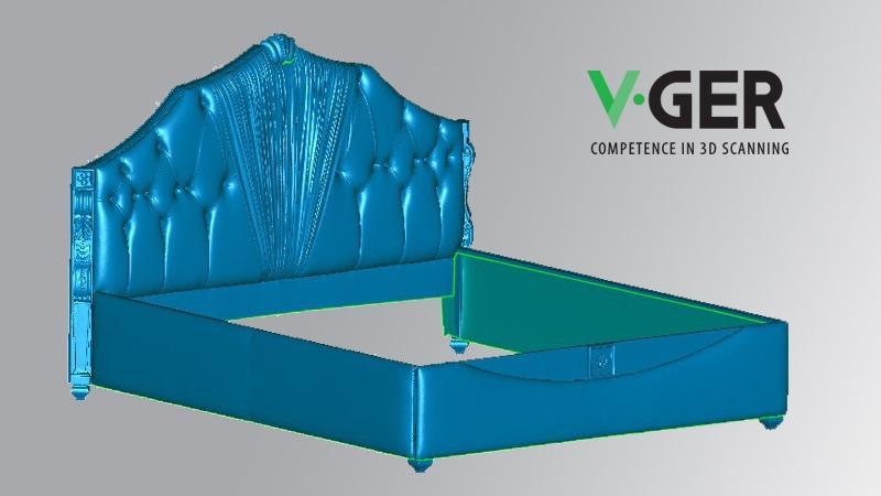 Rendering 3D di un letto Tiffany con V-GER